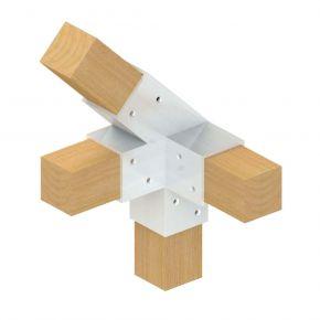 4-weg koppeling 45° links - Topclamp Wood Aluminium