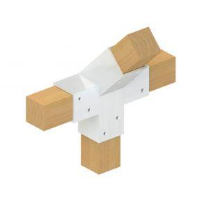 4-weg koppeling 45° midden - Topclamp Wood Aluminium