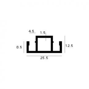 Aluminium horprofiel tussenkader 25.5mm