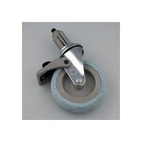 Zwenkwielen verchroomd met rubber loopvlak (met rem) | 100mm - HandyTube
