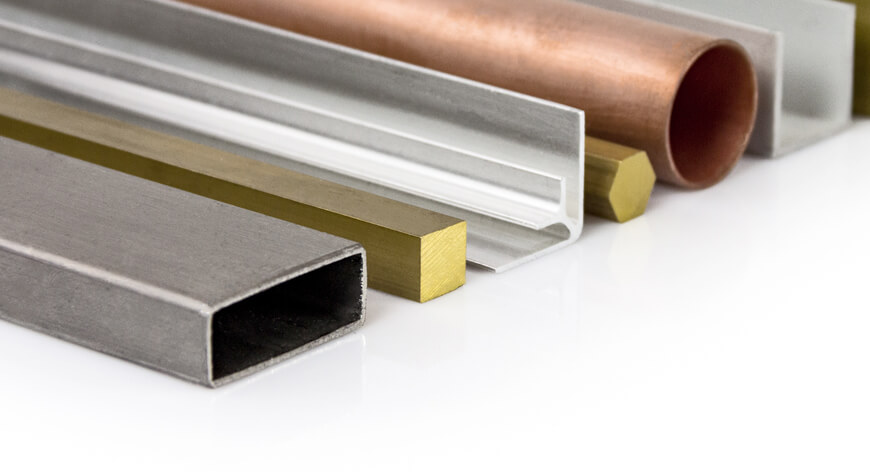 Aluminium profielen, messing staf, RVS buizen