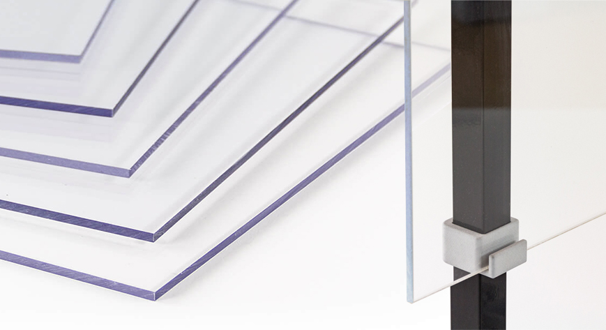 Plexiglas, polycarbonaat, afschermframe